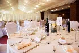 Wedding reception with decorated tables